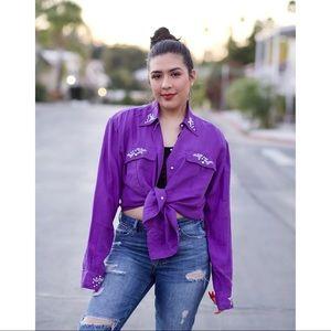 Vintage 90s Silk Beaded Selena Style Blouse